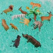 Leokon Animals Figure,12 Piece Mini Forest Animals + 15000 pcs Water beads (Scene use) Toys Set, Realistic Wild Vinyl Pastic Animal Learning Party Favors Toys For Boys Girls Kids Toys Playset