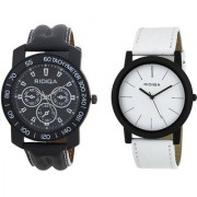 RIDIQA Black Strap White Dail Combo Watches for cauple combo RD-111-048