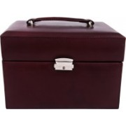 zint PURE LEATHER BROWN MULTI-COMPARTMENT JEWELRY BOX KEY LOCK TRINKET CASE RINGS PENDANTS TRAVEL ORGANIZER(Brown)