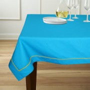 Lushomes 6 Seater Blue Table Cloth with Green contrasting cord piping (Size 60x90)
