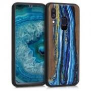 kwmobile Dřevěné pouzdro pro Samsung Galaxy A40 - modrá
