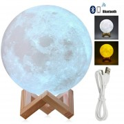 Lampara Luna Y Parlante Bluetooth 15 Cm 2 Colores Recargable