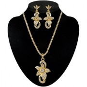 Kriaa by JewelMaze Gold Plated White Alloy Necklace Set For Women