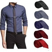 Set of 5 Slim Satin Tie for Men - Formal Party Wear Birthday Gifts.(Colour Black Grey Navy Blue Maroon Red)