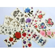 10pcs/package hot selling temporary tattoo stickers various designs including colorful flowers and butterflies/red roses/red peony/black flowers and black butterflies/etc.