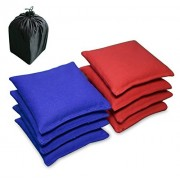 AceLife Weather Resistant Cornhole Bags Set of 8 with Recycled Plastic Pellets (California Proposition 65 Approved), Red & Blue