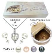 Set Perla Surpriza cu Cercei Bumb Perle Albe