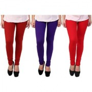 Stylobby Maroon Purple And Red Kids Legging Pack Of 3