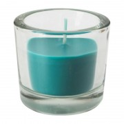 Xenos Kaars in glas - 6.5x6 cm - blauw/groen