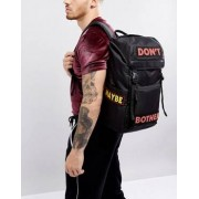 ASOS Hiker Backpack In Black With Slogan Print - Black