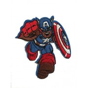 "Marvel Comics (Avengers-The First Avenger) Kid-Captain America 3"" Tall Embroidered Iron On or Sewn On Color Patch (with Gift Box)"