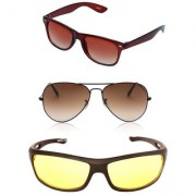 Magjons Brown Wayfarer Green Aviator Sunglasses Combo Yellow Driving Goggale Set of 3 With box MJK07