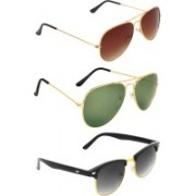 Zyaden Aviator, Aviator, Clubmaster Sunglasses(Brown, Green, Black)