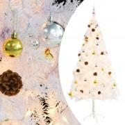 vidaXL Изкуствена елха, украсена с играчки и LED лампи, 180 см, бяла
