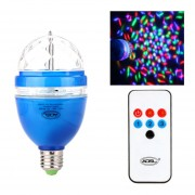 Full Color LED RGB Lámpara Giratoria Con Bulbo De Luz De Escenario DJ Control Remoto Activado Por Sonido 3W E27 85-260V Azul