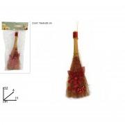 Mini scopa da befana con decorazione rosso 32 cm 199790 649