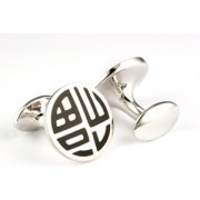 Mousie Bean Enamelled Cufflinks Happiness 141 Black