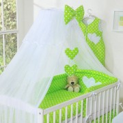 My Sweet Baby 3-Delig Bedset Two Hearts Voile Stip/Groen