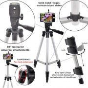 3110 Fordable Tripod with Mobile Clip Holder Bracket Fully Flexible Mount Stand with 3D Head Quick Release Pl