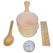 vidaXL Accesorii saună găleată/lingură/termometru/higrometru/clepsidră/bol