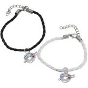 Men Style Love You Arrow l Heart Lock Couple Handmade Loves White Black Zinc Leather Bracelet