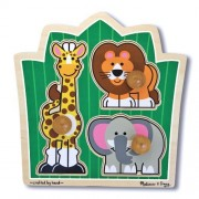 Jungle Friends Jumbo Knob Puzzle + FREE Melissa & Doug Scratch Art Mini-Pad Bundle [33756]