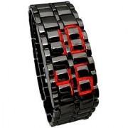 Samurai Rectangle Dial Black Metal Strap Unisex Automatic Watch