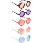 NuVew Round, Shield Sunglasses(Orange, Violet, Red, Golden, Blue)