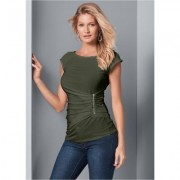 Plus Size ZIP Detail TOP Tops - Green