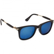Arzonai Stone Boss Mirrored Wayfarer Shape Black-Blue UV Protection Sunglasses For Men & Women [MA-038-S13 ]