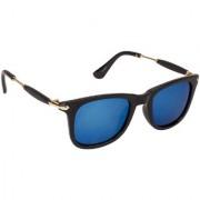 Arzonai Stone Boss Mirrored Wayfarer Shape Black-Blue UV Protection Sunglasses For Men & Women [MA-038-S13 ]