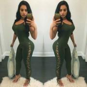 Senoras Sexy Slim Strap atar Spandex pantalones siameses - Verde (XL)
