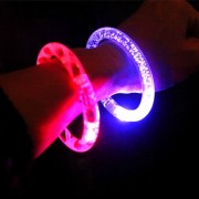 LED Light Bracelet Wristband Discolor Toys Children's Christmas Gifts Party Bangle (Random Delivery)(White)