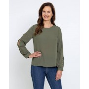 Judith Williams Bluse mit Cut Outs und Nieten khaki female 44