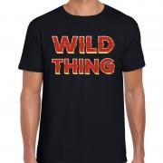 Bellatio Decorations Wild Thing fun tekst t-shirt zwart met 3D effect voor heren