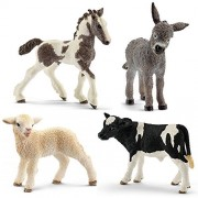 SuePerior Living Schleich Animals Set - 4 Farm Babies - Donkey Foal, Lamb, Tinker Foal, Holstein Calf