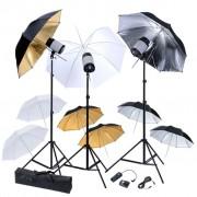 vidaXL Студийно осветление с 3 светкавици (120 W/s), 9 чадъра и трипода