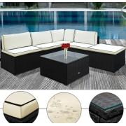 Zahradní ratanový nábytek FELIX černá, krémová/linka