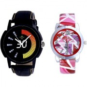 Round Dial Black Yellow And Multi Pink Art Couple Analogue Watch By Ganesha Exim