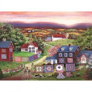 Bits and Pieces - 300 Large Piece Jigsaw Puzzle for Adults - Crazy for Quilts - 300 pc Country Farm Jigsaw by Artist Mary Ann Vessey