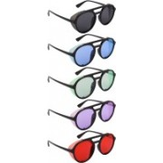 NuVew Round, Shield Sunglasses(Black, Blue, Green, Violet, Red)