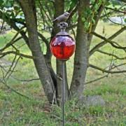 Tuteur boule oiseaux rouge queue basse