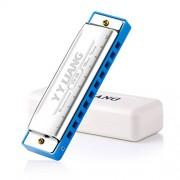 YYLIANG Baby Toys Standard 10 Hole Harmonica - C polyphony Harmonica - Blues Harmonica -With Harmonica case (Blue)