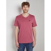 TOM TAILOR Basic T-shirt met V-hals, wine rose pink, S