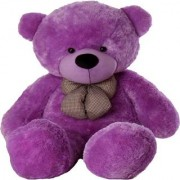 Multi Soft Fabric India Kid's 5 Feet Jumbo Teddy Bear Stuffed Soft Push Toy Good Quality Fabrics (Purple)