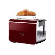 Siemens Toaster Sensor for Senses TT86104, 2 kurze Schlitze, für 2 Scheiben, 860 W, mit Quarzglasheizung, rot