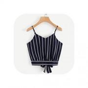 Wenzi-day Camisole Crop Parte Superior Blusa sin Mangas con Cuello en V a Rayas de Verano para Mujer, Beige, M