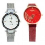 Ceas dama elegant bratara magnetica set 2 ceasuri Argintiu and Rosu