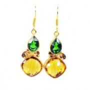 Riyo Hunky Emerald Citrine Cz Earring GPEMUL-52012