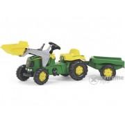 Tractor cu pedale și cupă Rolly Kid John Deere, cu remorcă